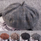 Women Retro Plaid Printed Hat Cap Beanie Head Cover Casual Winter Party Beret