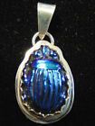 ca 1910 TIFFANY COBALT BLUE FAVRILE ART GLASS SCARAB STERLING SILVER PENDANT