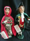 Byers Choice 2002 Man w Scroll  Lamp Red Caped Woman w Apples MINT