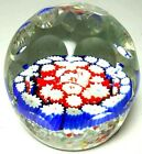Antique Honeycomb Cut Millefiori Glass Faceted Paperweight