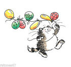 New Penny Black BIRTHDAY OF COLORS Wood Rubber Stamp Cat Party Balloons Happy