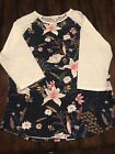 LuLaRoe Randy T size 2XL Floral Blue body and White sleeves New