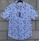 NWT Original Penguin Button Up Shirt Mens Size M White With Tennis Rackets Print