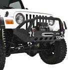 Fits 87 06 Jeep Wrangler TJ YJ Front Bumper with Winch PlateD Rings Black