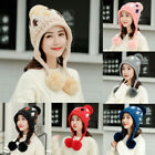 Women's Winter Warm Leaf Print Cap 3 Ball Baggy Knit Crochet Beanie Hat Ski Cap