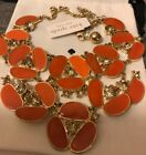 Kate Spade disco Pansy Flower Orange Retired Necklace