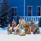 Hand Sculpted Christmas Holiday Decor 9 piece Outdoor Nativity Scene Set