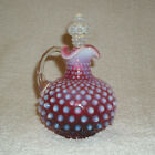 Vintage Fenton Cranberry Opalescent Hobnail Cruet w Kings Crown Stopper c 1940s