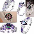 Fashion 925 Silver Jewelry Mystic Topaz Women Wedding Engagement Ring Size 6 10