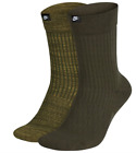 Nike Socks Mens Large Olive Green 2 Pairs Crew Authentic SNKR SOX Just Do It