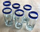 Mexican Hand Blown Glass Blue Rim Tequila Shots Artisan 6 Pack