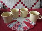Vintage (4) Fiesta Ware Light Sunshine Yellow Mugs/Cups Ring Handles Tom