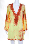 Monique Leshman Yellow Orange Tie Dye Beaded Detail Tunic Dress Size Small
