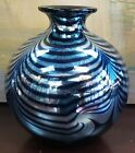 Vintage Steven Correia Art Glass Pulled Feather Rotund Vase
