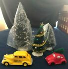 Dept 56 & Lemax Christmas Village RED VW CAR w/ TREE + YELLOW HOLIDAY CAB + TREE
