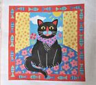 Hand Painted Needlepoint Canvas Black Cat