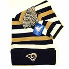 NFL Officially Licensed Los Angeles Rams Striped Toboggan Knit Beanie Hat Cap