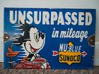 OLD 1930'S SUNOCO NU-BLUE PORCELAIN ENAMEL GAS PUMP STATION SIGN MICKEY MOUSE