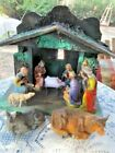 VINTAGE RESIN 10 PIECE NATIVITY SET W WOODEN CRECHE GERMANY