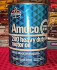 VINTAGE AMOCO OIL CAN 200 HEAVY DUTY MOTOR OIL SHINY BLUE PETROLIANA