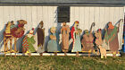 Vintage 1960s 10 pc Plywood Cutout Hand Painted Outdoor Nativity Scene Set