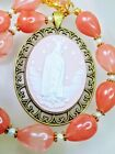 Beautiful Pink Cherry Watermelon Quartz Crystal Bead Fatima Cameo Necklace
