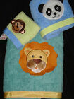 NEW SATURDAY KNIGHT ANIMAL WORLD PANDA LION MONKEY 3 piece BATH TOWEL TOWELS SET