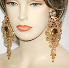 Gold WGold Bridal party Rhinestone Crystal Large Chandelier Earrings 0729