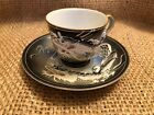 Vintage 1950s Japan Geisha Girl Lithophane Porcelain Dragonware Cup Saucer Black