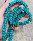Antique Very Old Naga Land Turquoise Tone Melon Glass Bead Bead Necklace