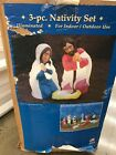 Nativity Blow Mold Baby Jesus Mary Joseph Shepherds Hook 28 General Foam