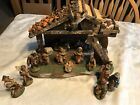 Vintage Fontanini Nativity With Wood Stable 21 Piece Set ca 1930s HEIRLOOM