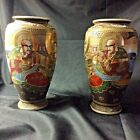 Pair of Satsuma Moriage Vase Immortals 85 Japanese Signed