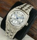 Bulova Men's Silver Tone Crystal Accent Day Date Pave Dial Watch - 96C002 Steel