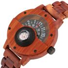 Natural Wooden Wrist Watch Compass Rotary Turntable Dial Quartz Ebony Wood Band