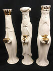 Vintage 3 Wise Men Large Ceramic White and Gold 3 KINGS NATIVITY SIGNED Marilyn