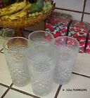 TUMBLERS / GLASSES~SET OF 4-12oz Vintage Wexford Diamond Point Pattern~TUMBLERS