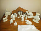 CHRISTMAS 25PC MOTHER OF PEARL FINISH w GOLD TRIM  LARGE CERAMIC NATIVITY SET
