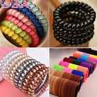 Elastic Girl Rubber Telephone Cord Wire Hair Ties Plastic Rope Spiral Hairband