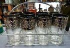 Mid Century Set of 8 Silver Hombre Highball Glasses in Metal Caddy