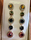 Christian Siriano Multi Color Heavy Crystal Party Holiday Statement Earrings