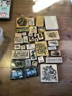 wood mounted rubber stamps lot Of 33 And 3 Ink Pads