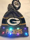 Green Bay Packers Winter Cap Hat cuffed Knit NFL LED Light Up Pom Beanie grey