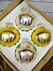 Vintage Set of 4 Nativity Scene Handpainted Glass Ball Christmas Tree Ornaments