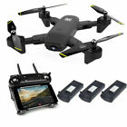 2021 New Quadcopter Drone With HD Camera Selfie WiFi FPV Foldable RC 3 Batteries