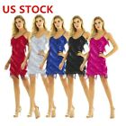 US Womens Fringe Sequin Strap Backless 1920s Flapper Party Mini Dress Dancewear