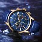 Mens Chronograph Leather Watch  Sport Automatic Date Quartz Waterproof Watches