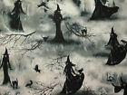 WITCHES WITCH CAT CROWS TREE BLACK WHITE COTTON FABRIC BTHY