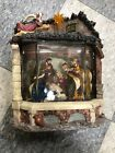 Nativity Scene Water Globe with Light Set In A Stable Musical Large Beautiful