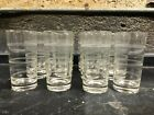 VINTAGE MID-CENTURY MODERN DRINKING GLASSES ETCHED RINGS SET OF 12 NEW OLD STOCK